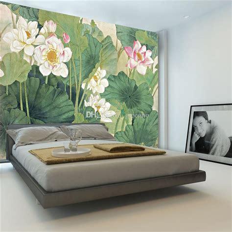 elegant lotus painting photo wallpaper flowers wallpaper chinese style wall mural bedroom