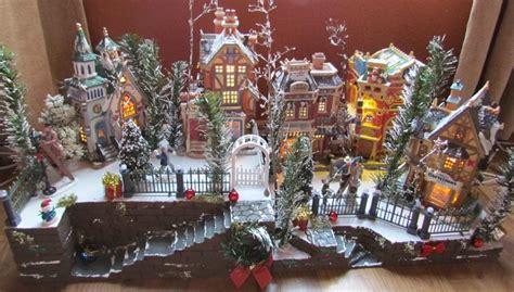 christmas village display big staircase ce platform base