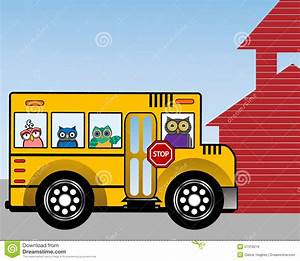 Wise owls in a school bus stock vector. Image of icon ...