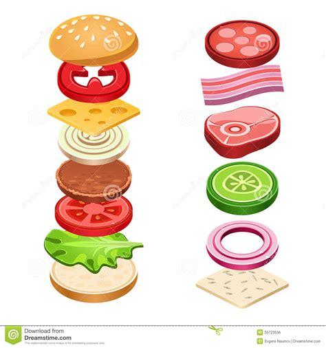 sandwich ingredients illustrazione ingredienti panino vettore alimento degli dell cartoon lettuce cheese vector bread tomato