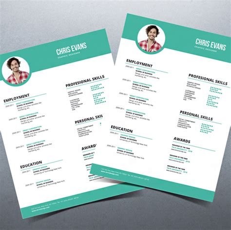 modern resume cv with cover letter
