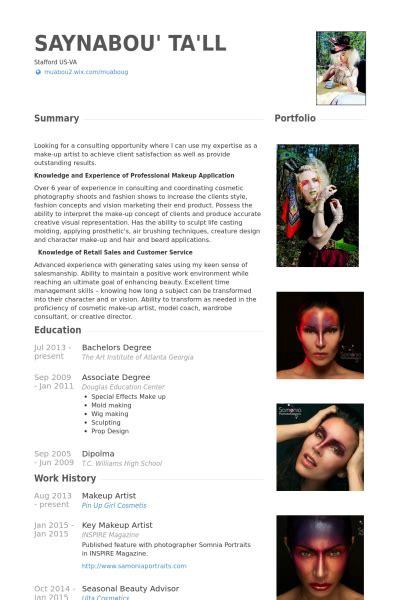 makeup artist resume  random artist resume