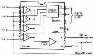 Four Channel Analog Multiplexer - Amplifier Circuit - Circuit Diagram