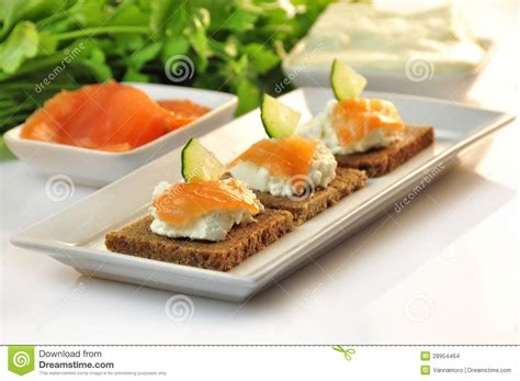 canapé toast canapes rye bread with ricotta cheese and smoked salmon