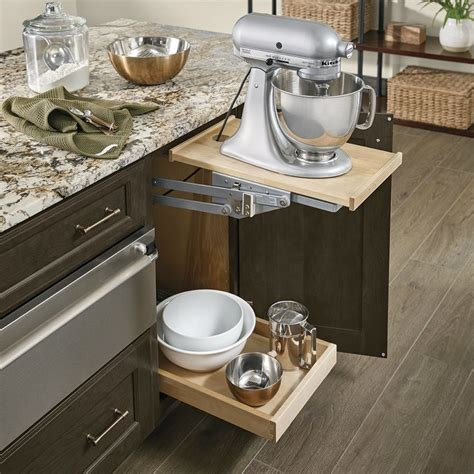 Base Mixer Shelf in Cannon Grey Cherry   mississippi