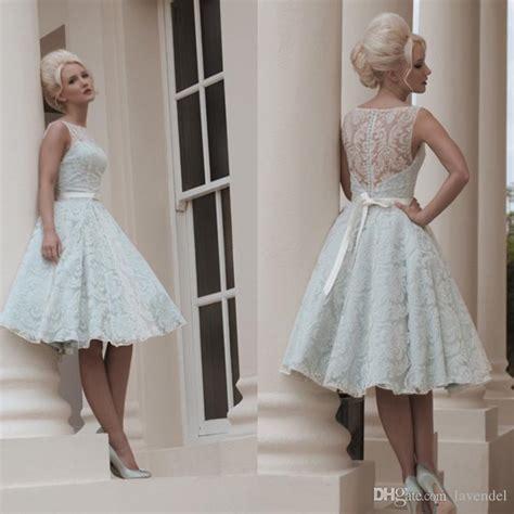 custom  white vintage lace wedding dress knee length