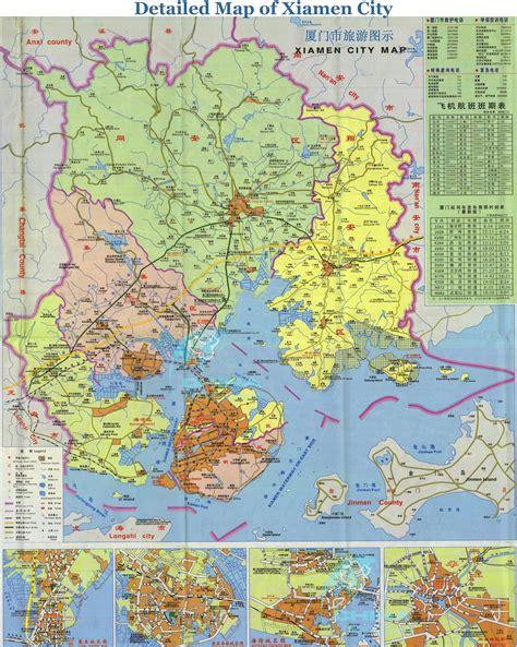 detailed tourist map  xiamen city suburb urban xiamen