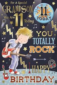 Grandson 11th Birthday Card & Badge - 11 Today Boy, Guitar ...