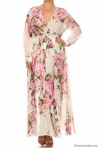 Long Sleeve Floral Chiffon Maxi Dress Off White Pink
