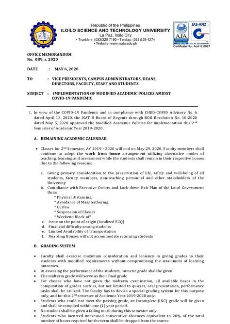 office memorandum iloilo science  technology university
