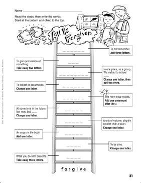 forgiven word ladder grades   printable
