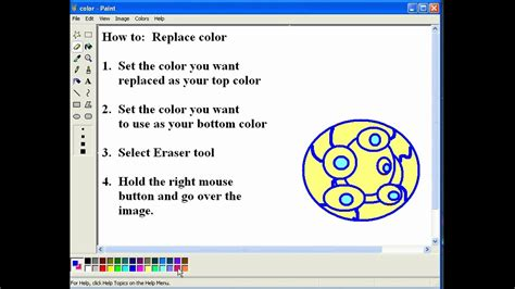 how to replace color in ms paint youtube