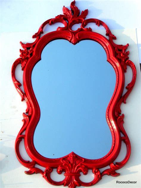 red mirror hollywood regency vintage frame