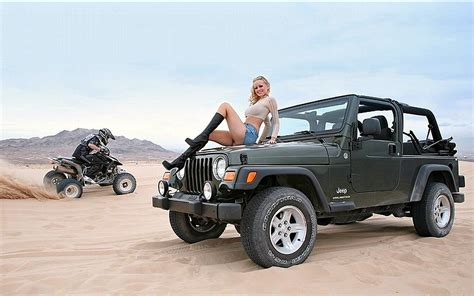 Bike Desert Model Jeep Blonde Cars Hd Wallpaper