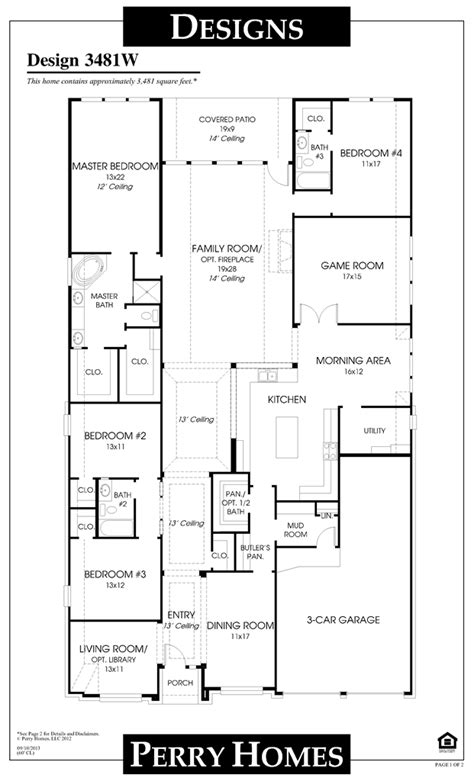 Floor Plans For 1 Story Homes by 3481w 1 Story Perry Home Floor Plan House