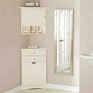 White bathroom corner cabinet home furniture design for Corner bathroom cabinet