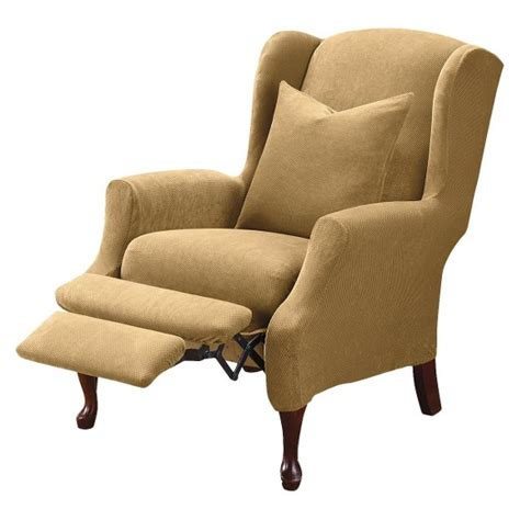 Stretch Wing Chair Recliner Slipcover by Stretch Pique Wing Recliner Slipcover Sure Fit Target