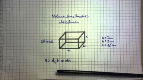 volumenberechnung quader youtube