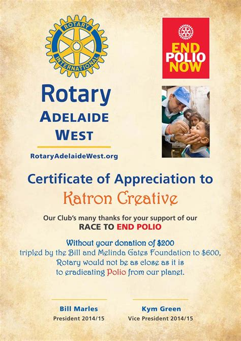 certificate of appreciation for sponsorship template rotary club of noosa heads queensland australia join