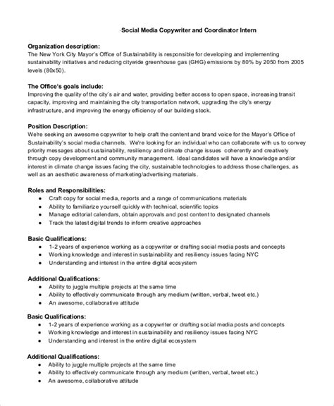 Resume Objective For Copywriter by Sle Copywriter Description 11 Exles In Pdf Word