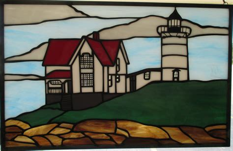 stained glass lighthouse l nubble lighthouse stained glass panel