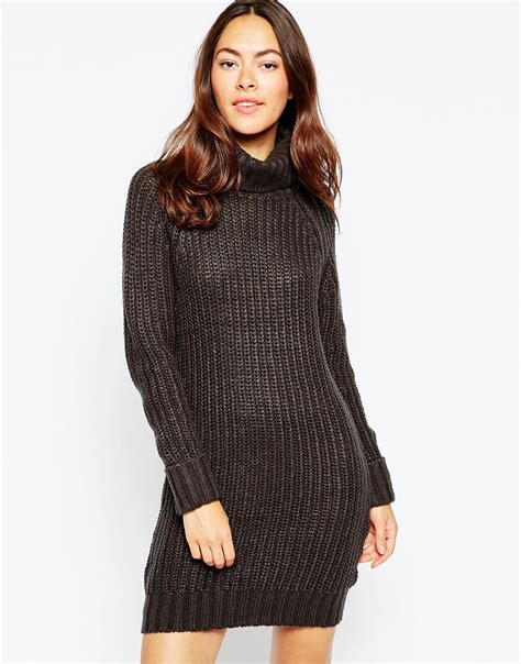 Brave Soul High Neck Sweater Dress With Long Sleeves in Blue (Navy) | Lyst