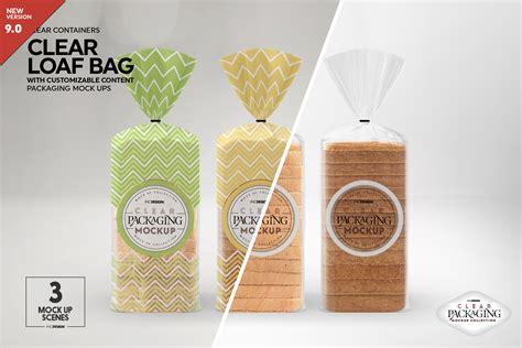 clear loafbread bag packaging mockup