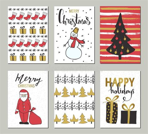 Christmas And Happy New Year Greeting Cards With