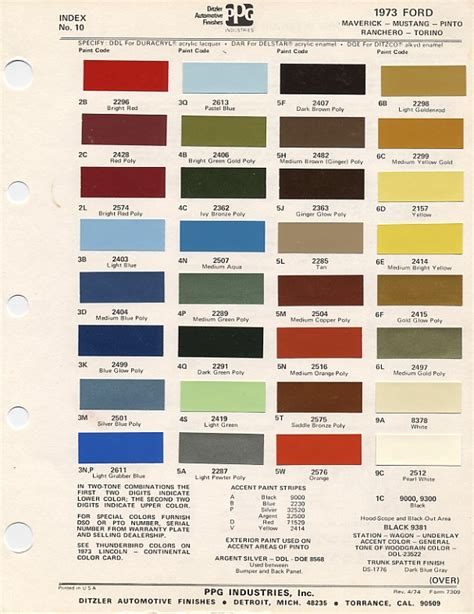 mustang paint chip chart  mixing codes maine