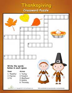 thanksgiving crossword puzzles education