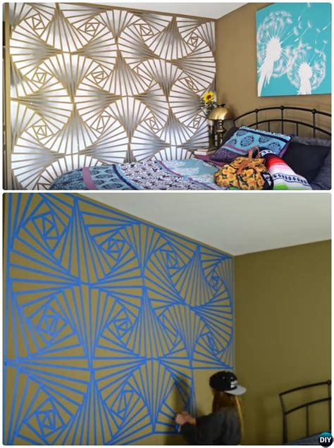bedroom wall painting ideas diy patterned wall painting ideas and techniques picture Diy