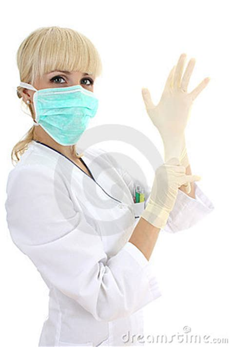 surgeon woman  mask  rubber gloves  white royalty