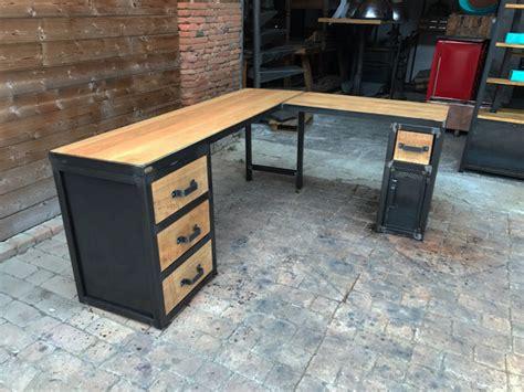 bureau industriel metal et bois brocantetendance fabrication sur mesure mobilier