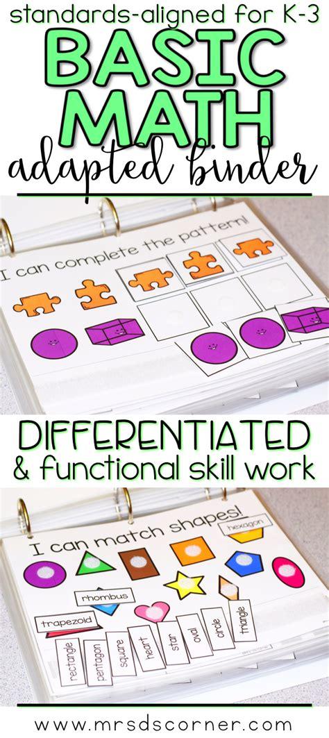 basic math skills adapted work binder  special