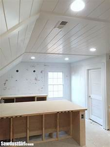 V Groove Plywood Plank Ceiling - Sawdust Girl®