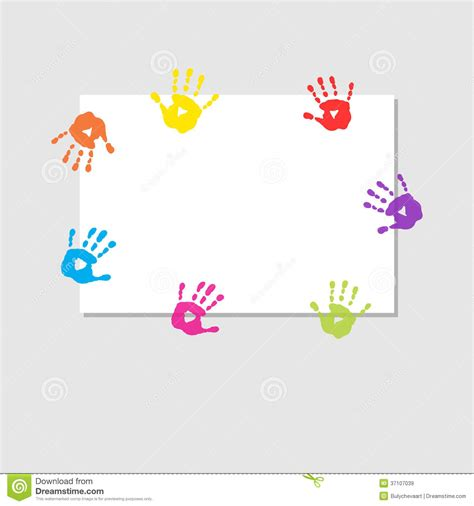 cover sheet  prints  childrens hands stock vector