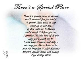 best wedding registry places funeral poem there 39 s a special place funeral poems for