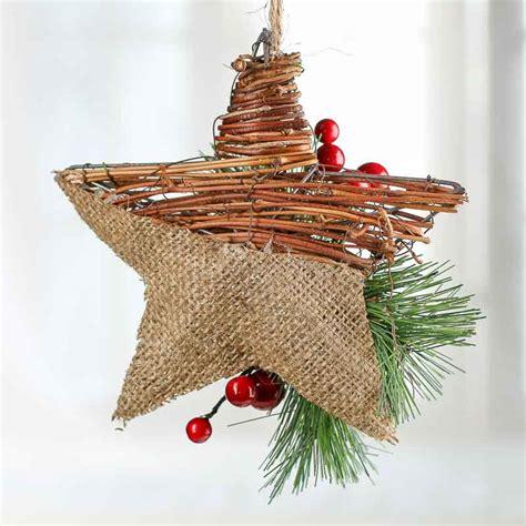 rustic burlap  grapevine star ornament christmas