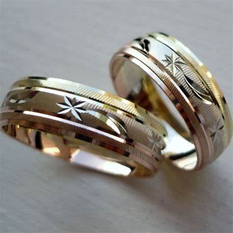 10k solid tricolor gold his and her wedding band ring set