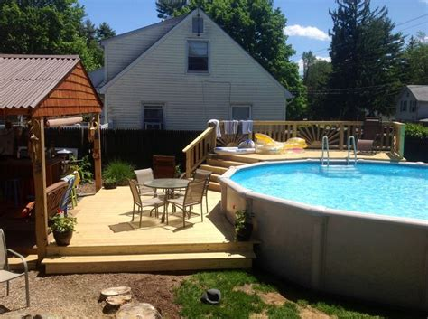 above ground pool steps attached to deck triyae small backyard landscaping ideas with above
