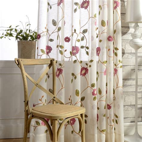 Blue Pink Floral Embroidered Semi Sheer Curtains for