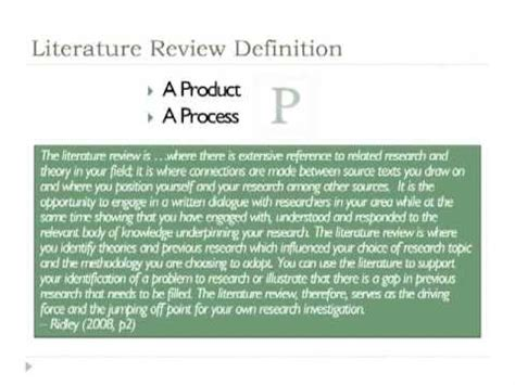 research process  literature review youtube