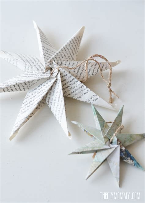 diy christmas ornament book page or map paper star the