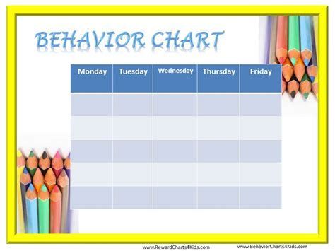 Student Behavior Chart Template