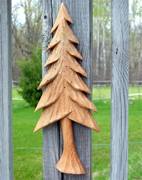 pine tree wood carving hand carved wall hanging