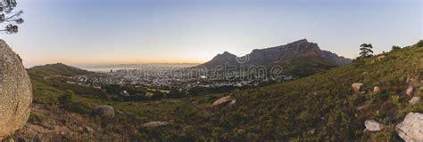 panorama  table mountain  cape town  sunrise stock