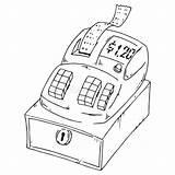 Cash Icon Check Drawn Register Bill Outline Till sketch template