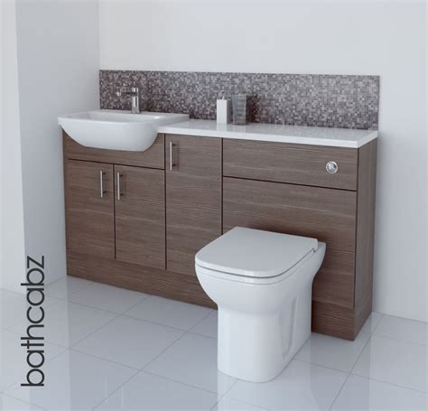 Fitted Bathroom Cupboards by Grey Brown Bathroom Fitted Furniture 1500mm Ebay
