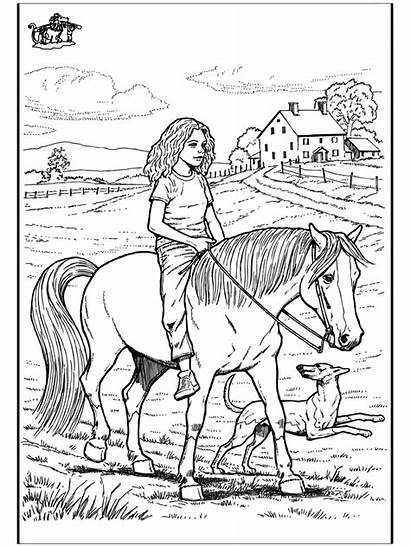 Pages Coloring Horse Riding Horses Farm Dog