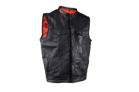 Soa Men'sanarchy Leather Motorcycle Biker Vest Red Lining